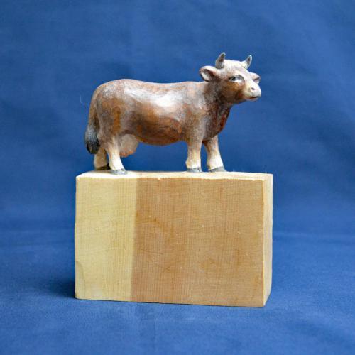 Kuh 15cm Zirbelkiefer bemalt