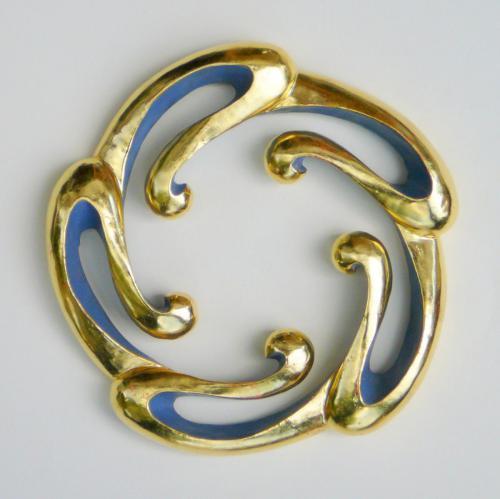 Ornament 22cm Zirbelkiefer vergoldet und bemalt