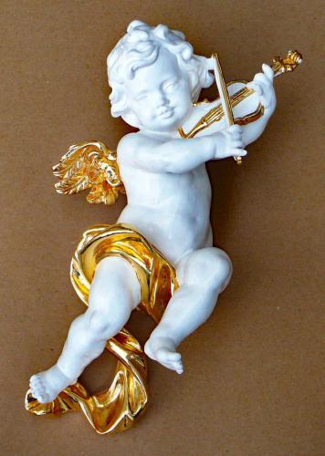 Puttenengel mit Geige 40cm Blattgold und Polierweiss